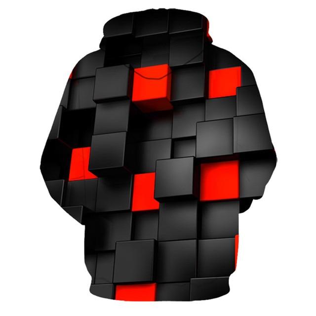 Red square 3D Printed Hoodie Sweatshirt 2