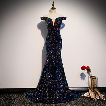Sexy Off Shoulder Deep V-neck Mermaid Robe De Soiree Prom Gown Luxury Super Bling Sequins Trailing Qipao Lady Evening Party Gown