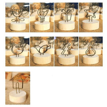 Pendant Picture-Frame Name-Card Furnishing-Articles Photo-Clip Wooden Round Iron Memo