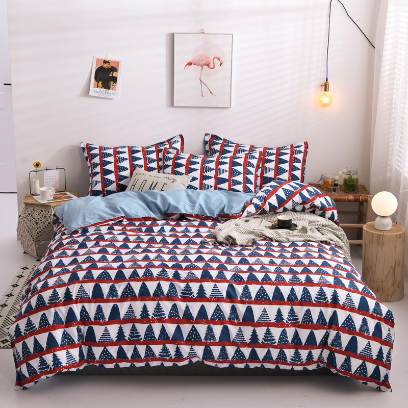 Christmas Tree Bedding Set Red Duvet Cover Flower Bed Set Pastoral Bedclothes 3or 4pcs/set Bed Linen Set 2020 New Year Home Bed