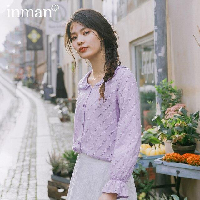 INMAN, весна 2020, Новое поступление, чистый цвет, художественная вышивка, лацканы, кружева, рукава, выдолбленные, свободные, длинный рукав, женская рубашка
