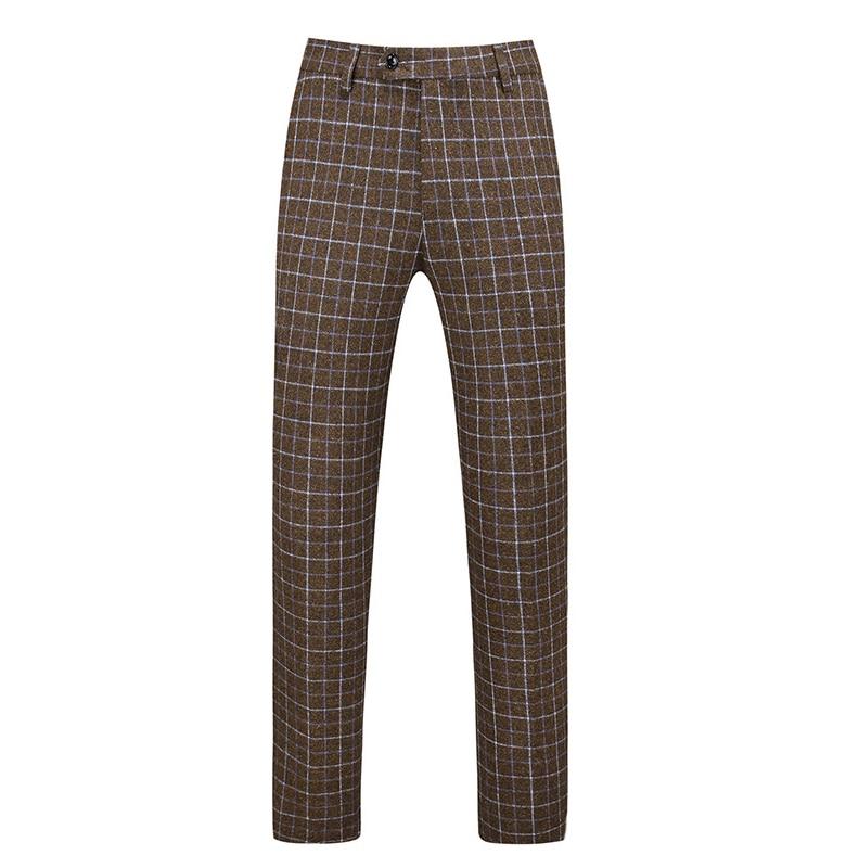 Gwenhwayfar, мужские синие клетчатые брюки, деловой костюм, брюки, деловые повседневные облегающие брюки, Классический Клетчатый костюм, брюки для свадьбы - Цвет: same as picture