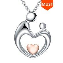 SG 925 srebro matka dziecko naszyjniki z ręka w rękę wisiorek w kształcie serca naszyjnik miłość rodzina modna biżuteria na prezent