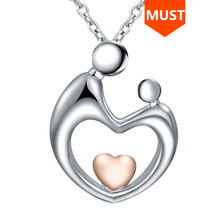SG 925 sterling silver Mother Child Necklaces with Hand in Hand Heart Shaped Pendant Necklace Love Family fashion Jewelry Gift