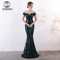 Skyyue Evening Dress Elegant Short Sleeve Off Shoulder Women Party Dresses Boat Neck Sequin Mermaid Robe De Soiree C138