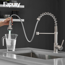 Fapully Kitchen Faucet Spring Single Handle Brass Pull Down LED Kitchen Tap Swivel 360 Degree Water Mixer Tap Mixer Tap 1094 360 rotation swivel pure water faucet kitchen drinking water tap dual handles solid brass mixer tap
