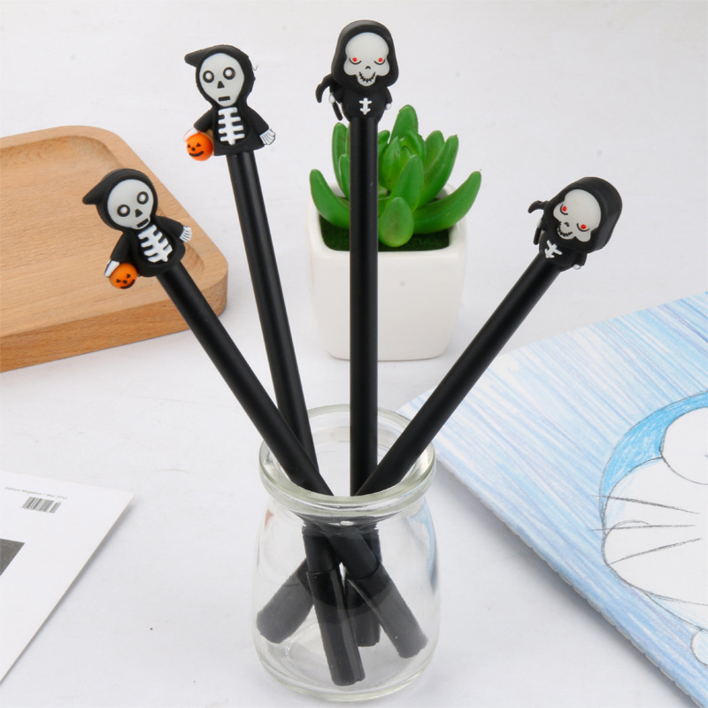 2 Pcs/lot Halloween Skeleton Luminous Gel Pen Ink Pen Promotional Gift Stationery School & Office Supply
