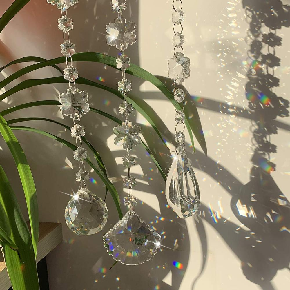 H&D Crystal Clear Glass Snowflake Beads Chain Garland Chandelier Prism Hanging Christmas Wedding Decoration (Clear Set of 3) Garden Suncatchers     - title=