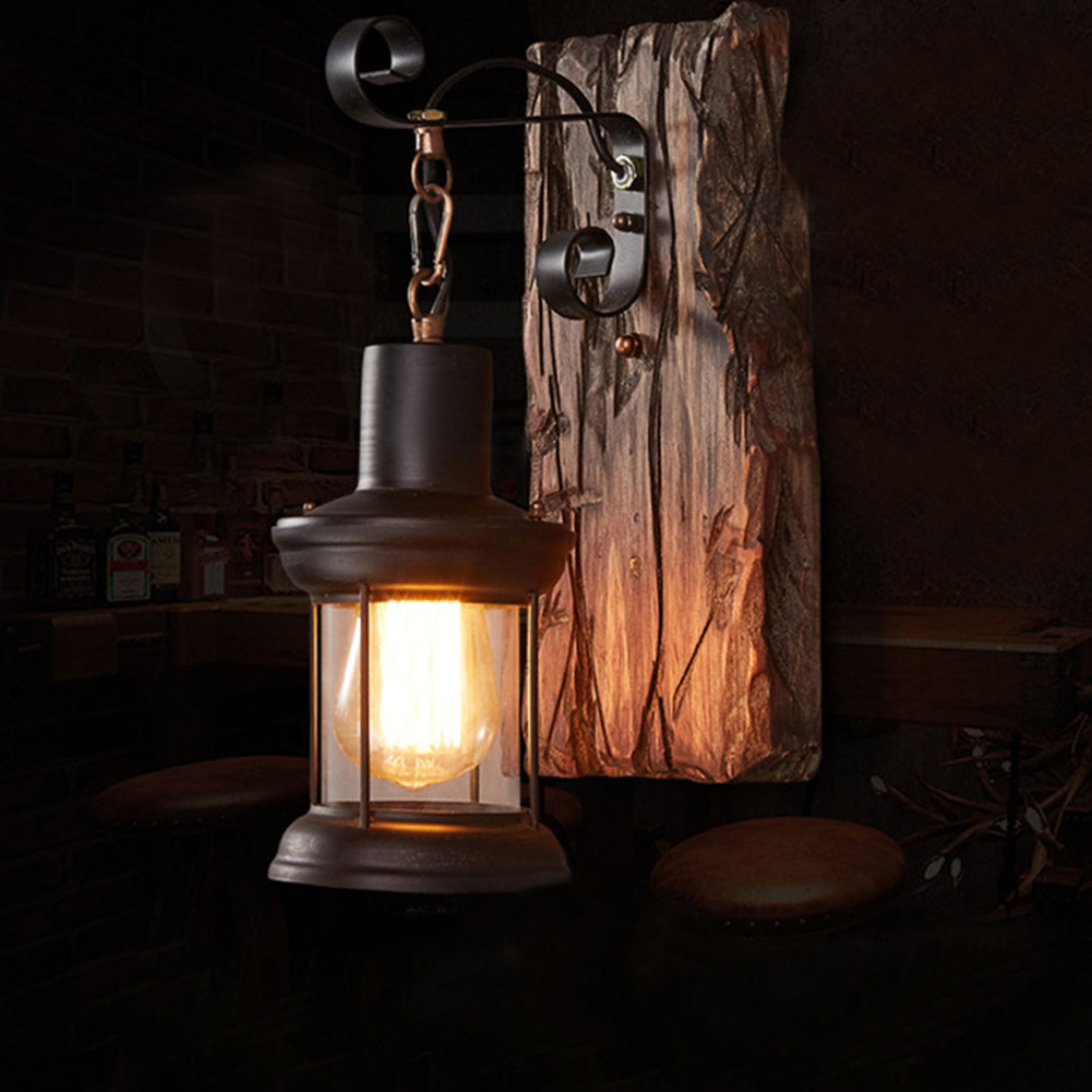 Hotel Led <font><b>Wall</b></font> <font><b>Lamp</b></font> <font><b>Wood</b></font> Home Decor Lifting Bedside Corridor Industrial <font><b>Vintage</b></font> Sconce Loft Cafe Indoor image