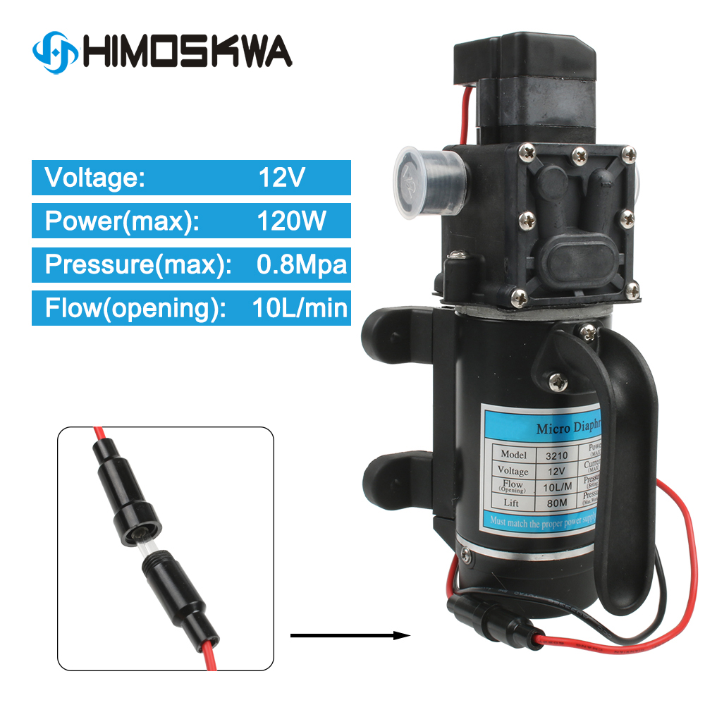 Electric 12V 24V 120W 10/min Water Film High Pressure Black Micro Water Pump For Agricultural Garden Water Sprayer Car Wash