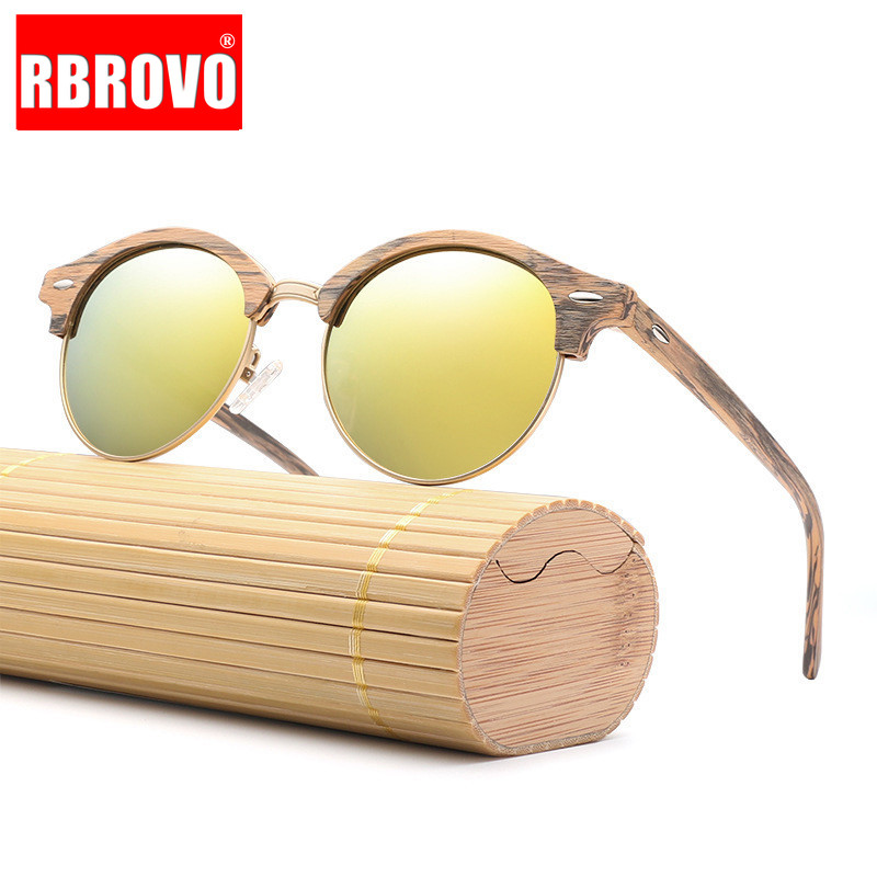RBROVO 2019 Polarized Sunglasses Men High Quality TAC Driving Wood Grain Eyewear Travel UV400 Lunette De