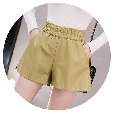 shintimes Elastic High Waist Wide Leg Biker Shorts Autumn PU Leather Shorts Women Plus Size Femme Casual Ladies Shorts Black 12
