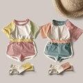 Корейские летние новые милые цветные шорты для девочек и мальчиков детский спортивный костюм для детского сада