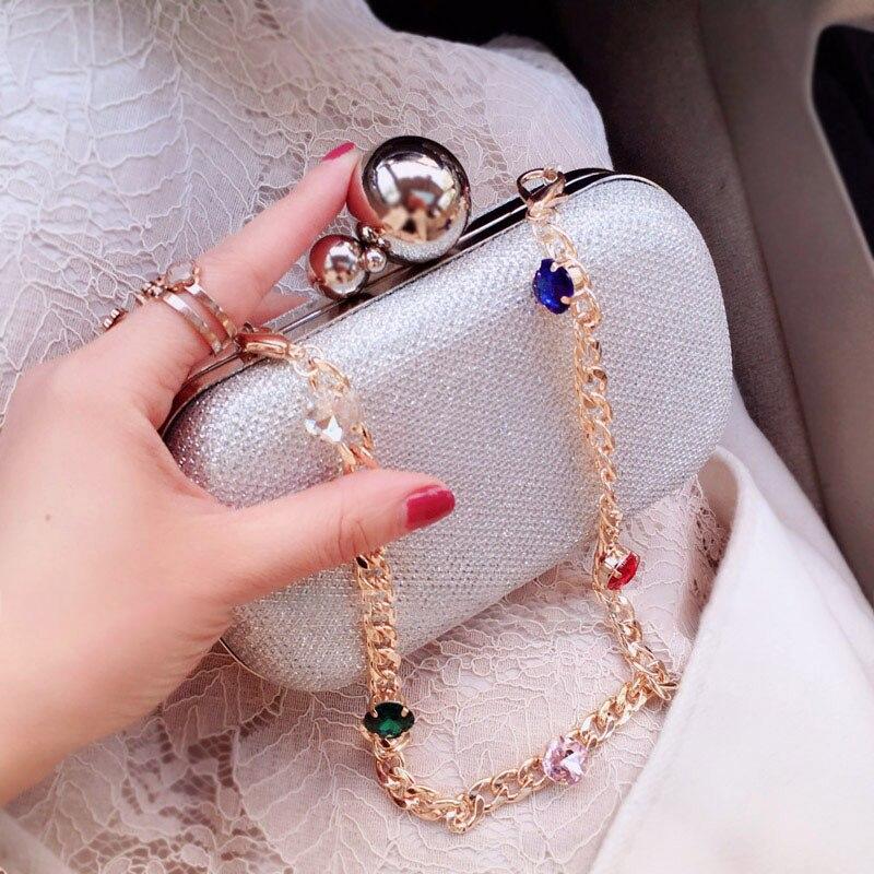 Pochette pour femmes sacs noir argent luxe sacs de soirée Diamand sacs à main PVC mariage mariée sac à main dames petit sac à bandoulière - 3