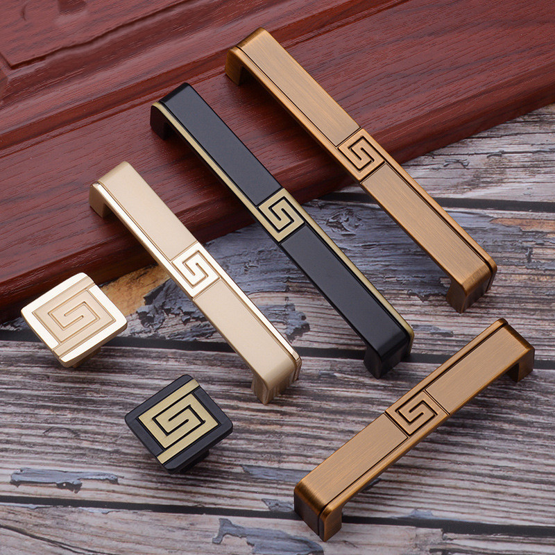 New Chinese Handles Retro Drawer Pulls Knob Black Brass Gold Cupboard Decoration Accessories Home Improvement Hardware Parts