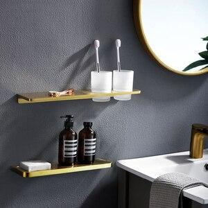 1 шт., твердый цинковый сплав, полка для ванной комнаты, держатель для шампуня, мыльница, матовый золотой подстаканник, органайзер, настенная ...