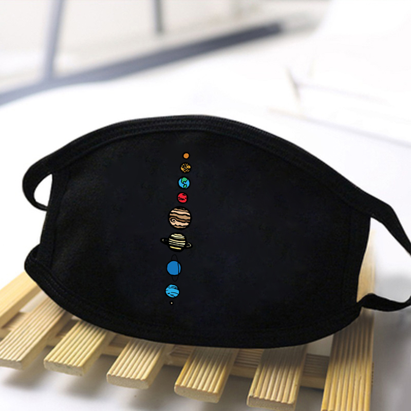 JoJo Bizarre Adventure Planets Colour Print Masks For Man Women Warm Windproof High Quality Dustproof Mouth-Muffle Black Masks