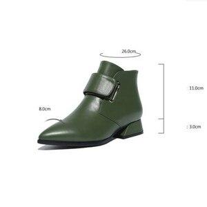 Image 5 - รองเท้าผู้หญิง 2020 ฤดูหนาวหรูหราแบรนด์ Retro สีเขียวผู้หญิงข้อเท้ารองเท้าบูทรองเท้าผู้หญิง PU รองเท้าหนังรองเท้าผู้หญิง Botines Mujer