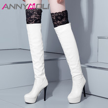 ANNYMOLI Winter Thigh High Boots Women Sexy Lace Platform Thin Heels Over the Knee Super Heel Shoes Female Fall 33-43
