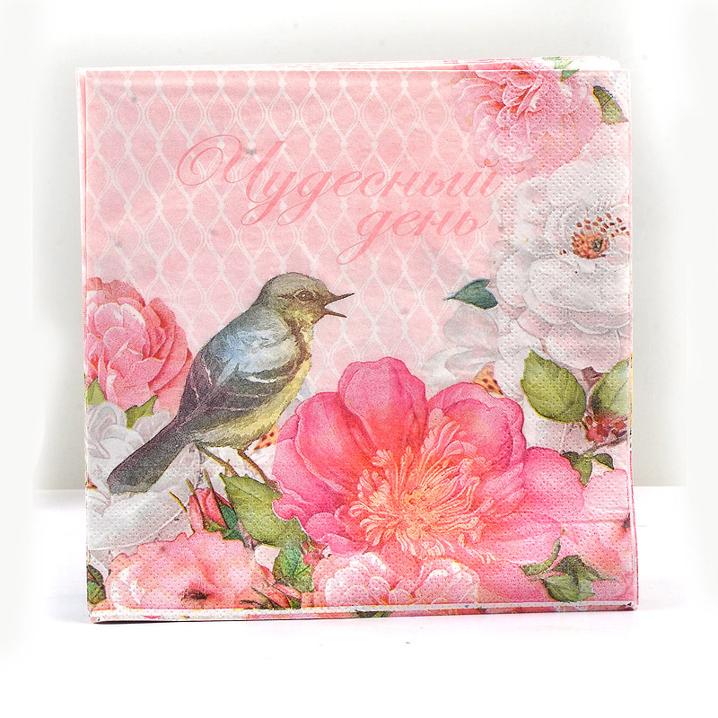 Birds Multi-color Printed Napkin Dining Mat Napkin Wedding Wedding Jie Hun Bei Stained Paper Hotel Paper