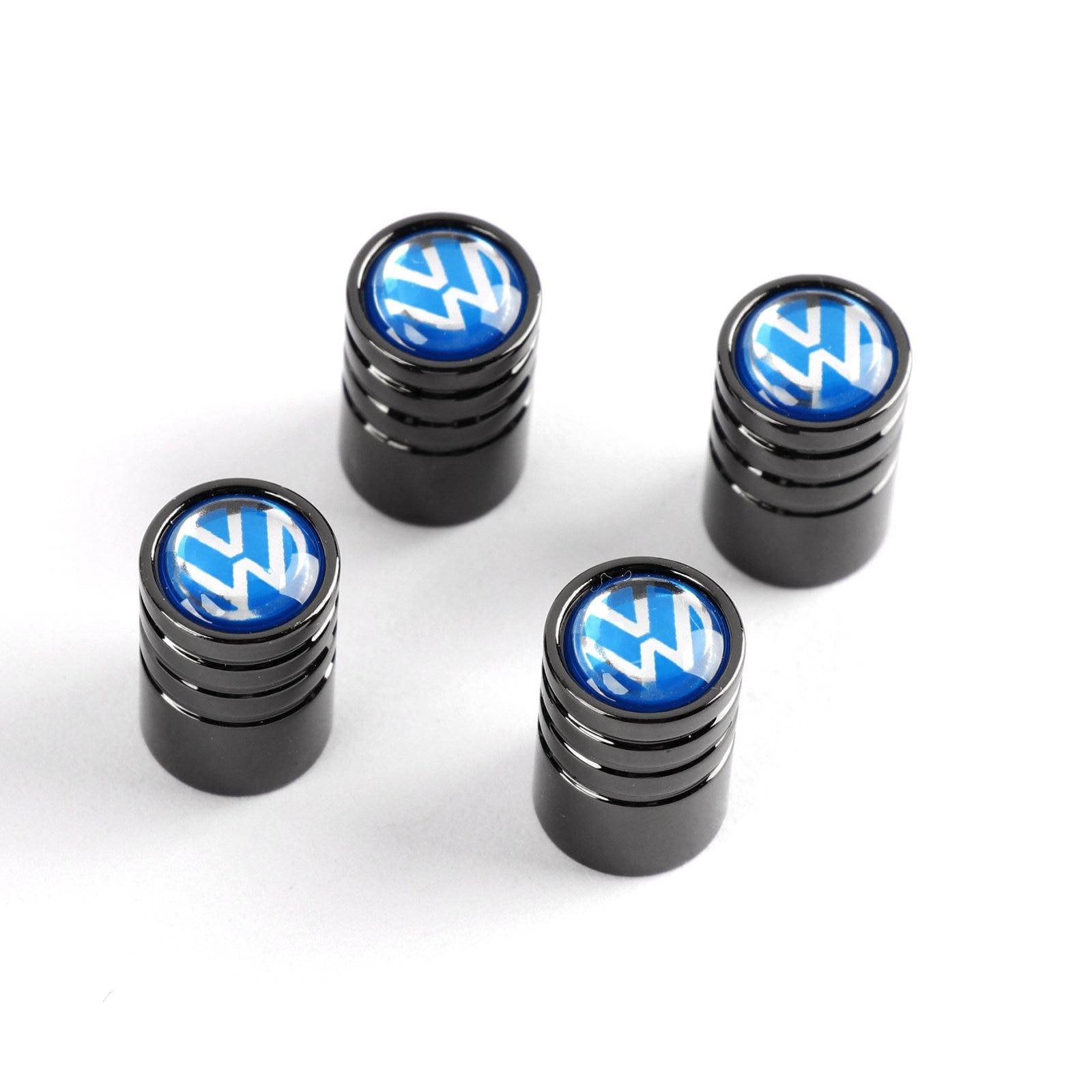 4pcs Set Gloss Blue Car Wheel Air Cap Tire Valve Dust Caps Lug Stem Styling For VW Volkswagen Scirocco Jetta Golf Passat Tiguan