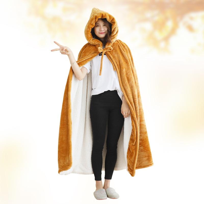 Одеяло с капюшоном, зимнее уплотненное Коралловое флисовое носимое одеяло, накидка, многофункциональная шаль, накидка, высокое качество, одеяло для ленивых