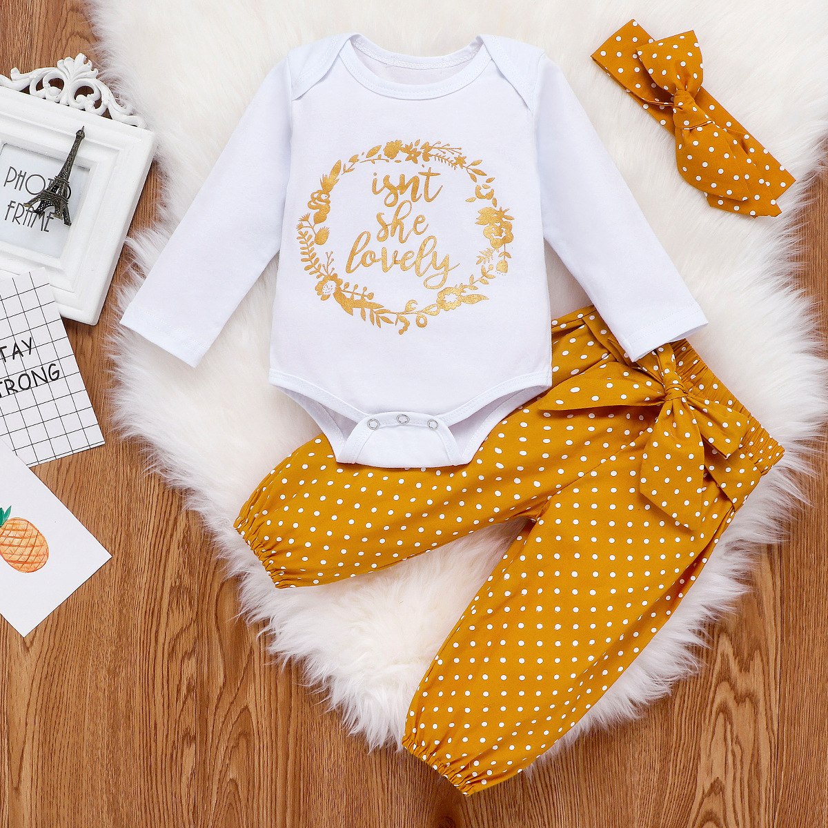 CYSINCOS Newborn Infant Autumn 3Pcs Set Cotton Letter Romper Dot Pants Headband Spring Outfits Clothes Baby Girls Clothing Suit