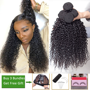 Afro kinky curly hair bundles deals human hair 3/4 bundles non-remy hair extensions Peruvian brazilian hair weave bundles