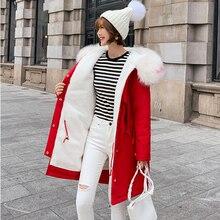 Fashion Autumn Warm Winter Jackets Women Fur Collar Long Parka Plus Size Lapel Casual Cotton Womens Outwear Park XXL