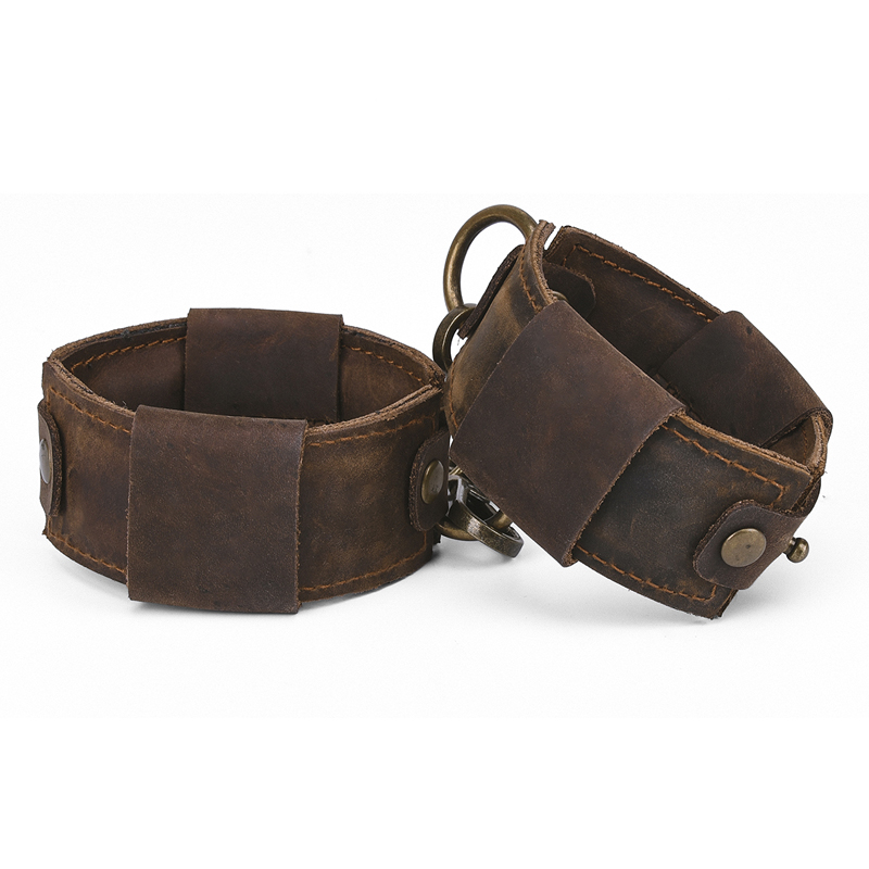 Brown Pull-Up Genuine Leather Handcuffs For Sex Bdsm Bondage Restraints Sexy Handcuffs Adult Games Sex Toys For Couples Woman