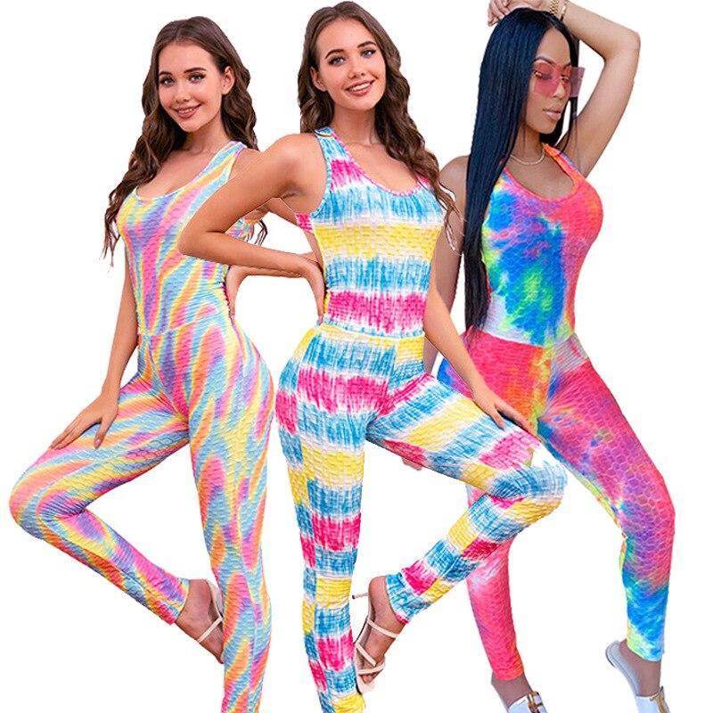 Tie Dye Print Fitness Clothing For Women Size XS-5 XL Vest Crop Top Leggings Sports Pants yoga Suit Jacquard Tracksuit Outfits