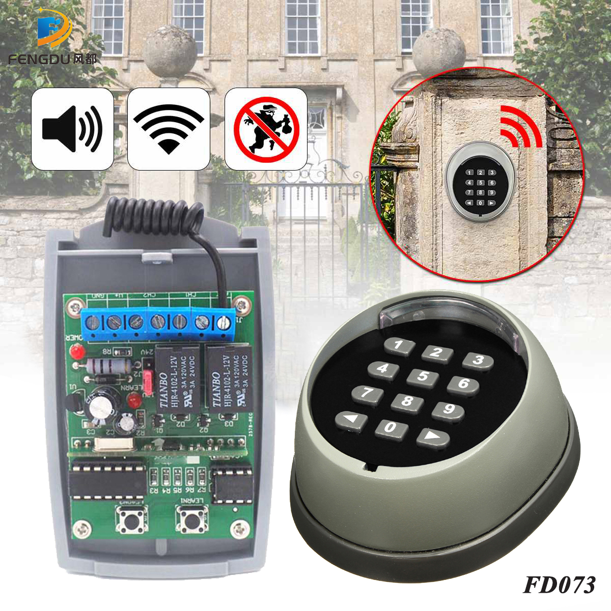 Wireless Gate Keypad for Sliding Gate Opener with Dust Cover 433.92MHZ Security