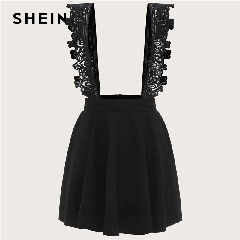 SHEIN Plus Size Black Contrast Lace Suspender Skirts Women Spring Summer Solid Big Size Pinafore Preppy Plus Short Skirt