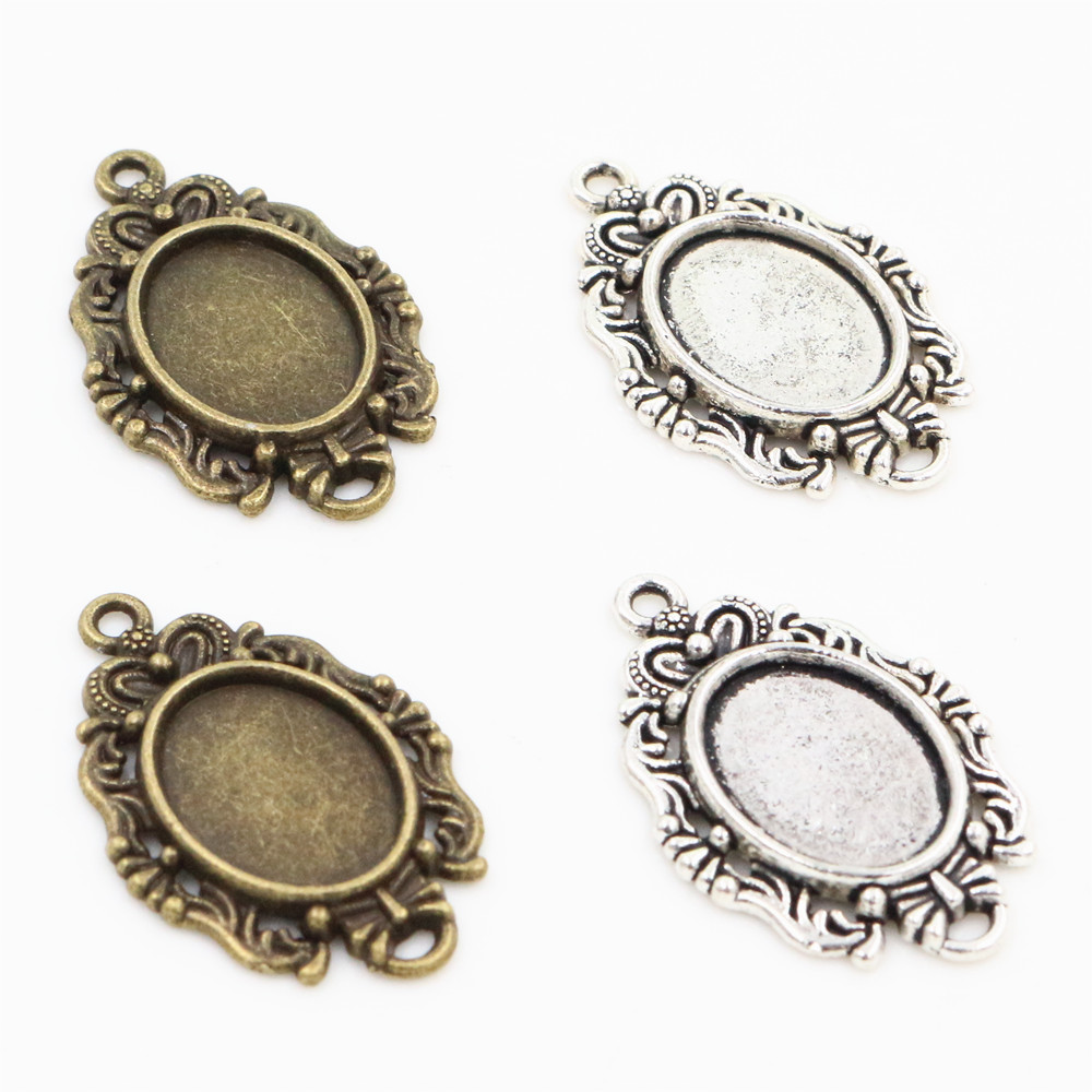 20pcs 10x14mm Inner Size Antique Silver Bronze Classic Flower Style Cameo Cabochon Base Setting Pendant Necklace Findings