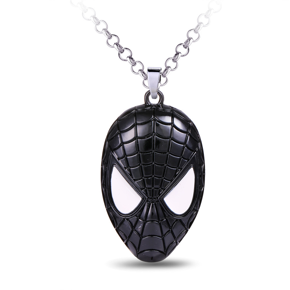 Men Trendy Classic Black Film and Television Accessories Dark Spider-man Poison Metal Pendant Necklace Key Chain Choker O-chain