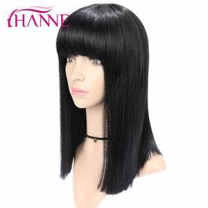 Image 3 - HANNE  Black Medium Wigs for Black Women Straight Wig With Bangs African American Natural Synthetic Hair