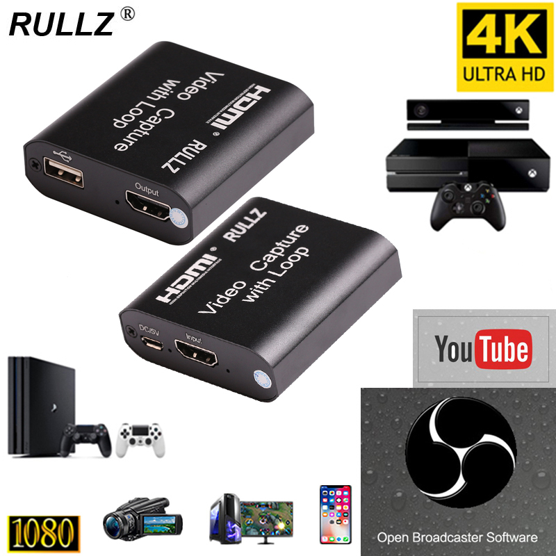 1080P 4K HDMI Video Capture Device HDMI To USB 2.0 Video Capture Card Dongle Game Record Live Streaming Broadcast Local Loop Out
