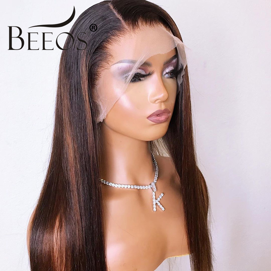Beeos Glueless Full Lace Human Hair Wigs Ombre Brown And Black Highlights Color Pre Plucked Hairline Brazilian Remy Hair 130%