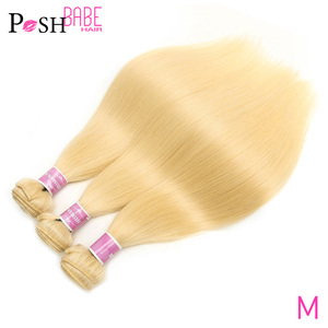 POSH BABE Straight Human Hair Bundles Weave 28 30 32 34 36 38 40 inch 613 Blonde Malaysian Hair Remy 1 3 4 Bundles Free Shipping(China)