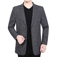 Spring Autumn Man Elegant Blazer Dark Gray Notched Collar Design Tailored Suit Jacket Male Business Casual Slim Fit Blazers Suit