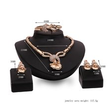 4PCS Lady Ornament Jewelry Set Necklace Charming Women Bracelet Pair Ear Stud Vintage Female Finger Ring