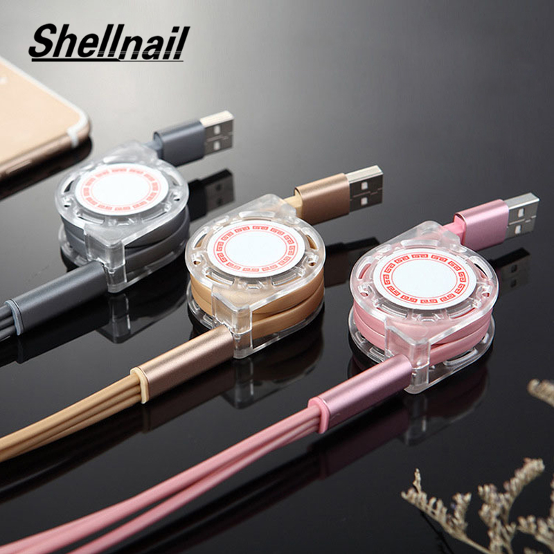 SHELLNAIL USB Type-c <font><b>Cable</b></font> For Samsung 3in1 <font><b>Retractable</b></font> Usb Charging <font><b>Cables</b></font> For Iphone X XS Huawei Phone Multiple Charger <font><b>Cable</b></font> image