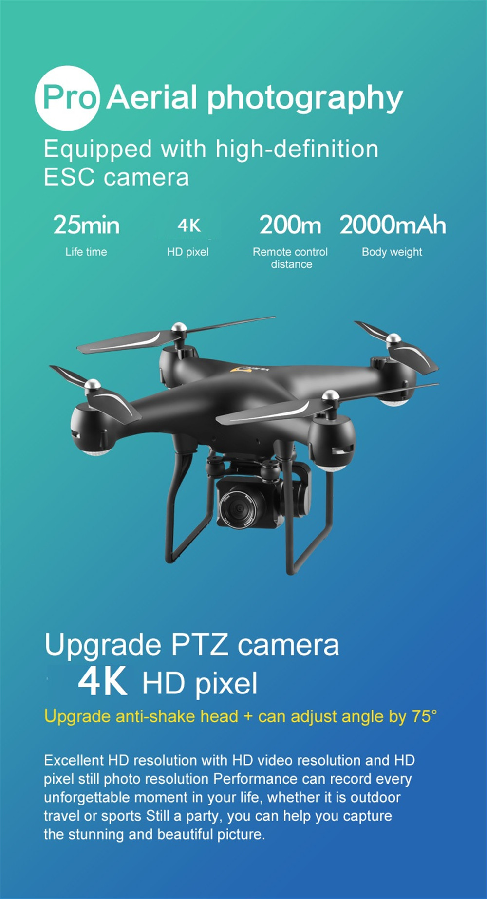 S32T4K Quadcopter Drone with 1080p HD camera and 4 LED for Kids 10
