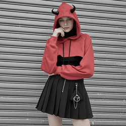 Punk Rave Vrouwen Korte Hoed Hoodies Gothic Losse Innovatieve Persoonlijkheid Raglanmouwen Dagelijkse Toevallige Top