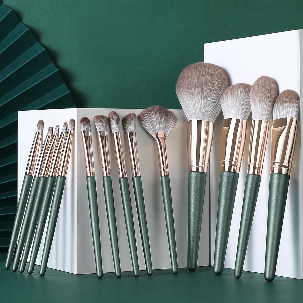 Lemoda Professional Makeup Brushes Set 14pcs Green  Eyeshadow Blending Powder Foundation Eyebrow Brushes Face Eye Cosmetic Tools