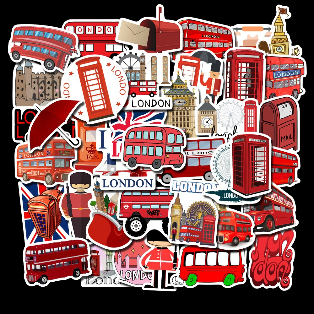 50 PCS  London Red Bus Style Graffiti Stickers Explosion Models Non-Repeating Luggage Stickers Waterproof Suitcase Stickers
