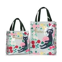 Bolso de compras reutilizable de PVC de estilo londinense para mujer, bolsa de compras ecológica con flores, bolso impermeable, bolso grande de hombro para el almuerzo