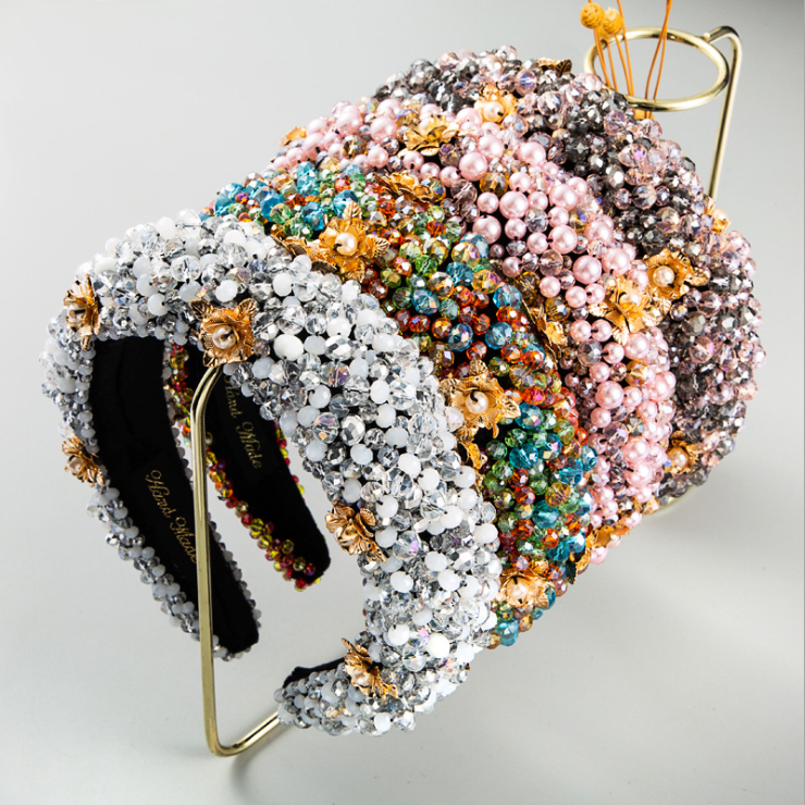 Moda Grosso Esponja Ouro Veludo Tecido Artesanal Frisado Hairbands Feminino Incrustado Pérola Flor Headbands