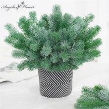 Aiguille de pin artificielle en plastique, branche de pin verte, décoration pour sapin de noël, accessoires pour maison de mariage, bouquet, boîte cadeau