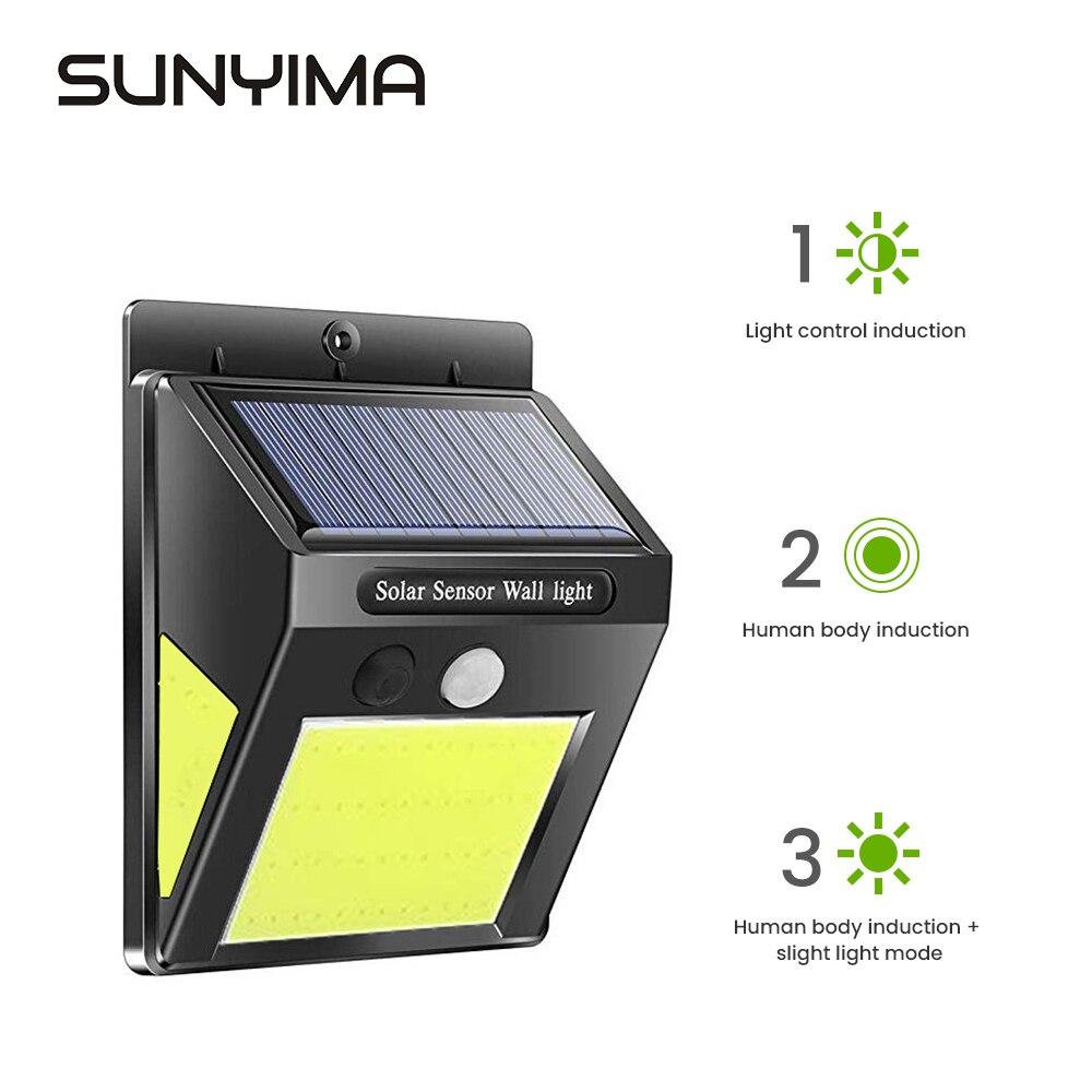 Sunyima 60led cob luz solar ao ar livre lâmpada pir sensor de movimento luz de parede à prova dwaterproof água luzes postas solares para jardim deco